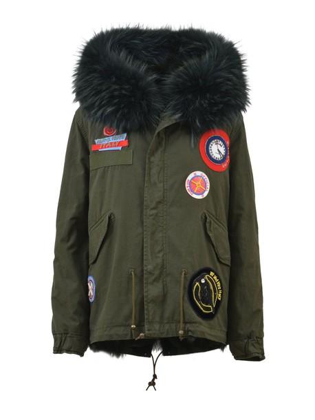 jacket down jacket fur green