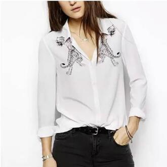 blouse animalprint longsleeve shirt womens summer casual printed pattern t-shirt