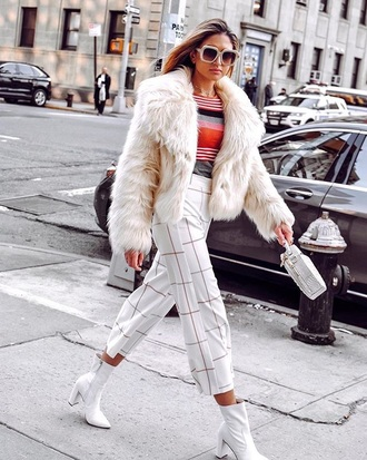 pants white pants cropped pants boots white boots white jacket top all white everything checkered cropped ankle boots jacket fur jacket