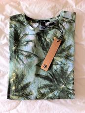 t-shirt,blue,green,palm,summer,kitchie,shirt,ksubi,palm tree,tropical,palm tree print,clothes