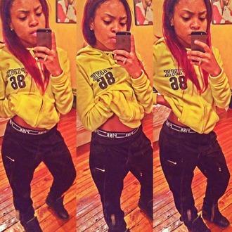pants black black pants nike nike pants pink yellow mustard underwear
