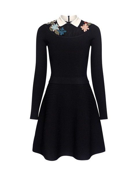 RED VALENTINO dress mini dress mini embroidered sheer lace floral black