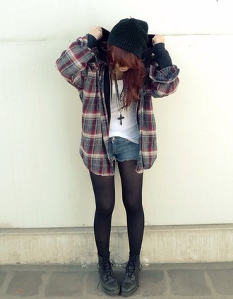 blouse soft grunge clothes shoes red cream flannel shirt tights jacket jacket short tshirt colorful necklace hat shorts plaid hood hoodie plaited cool grunge hooded flannel sweatshirt hipster indie flannel tumblr trendy combat boots black flannel jacket black beanie