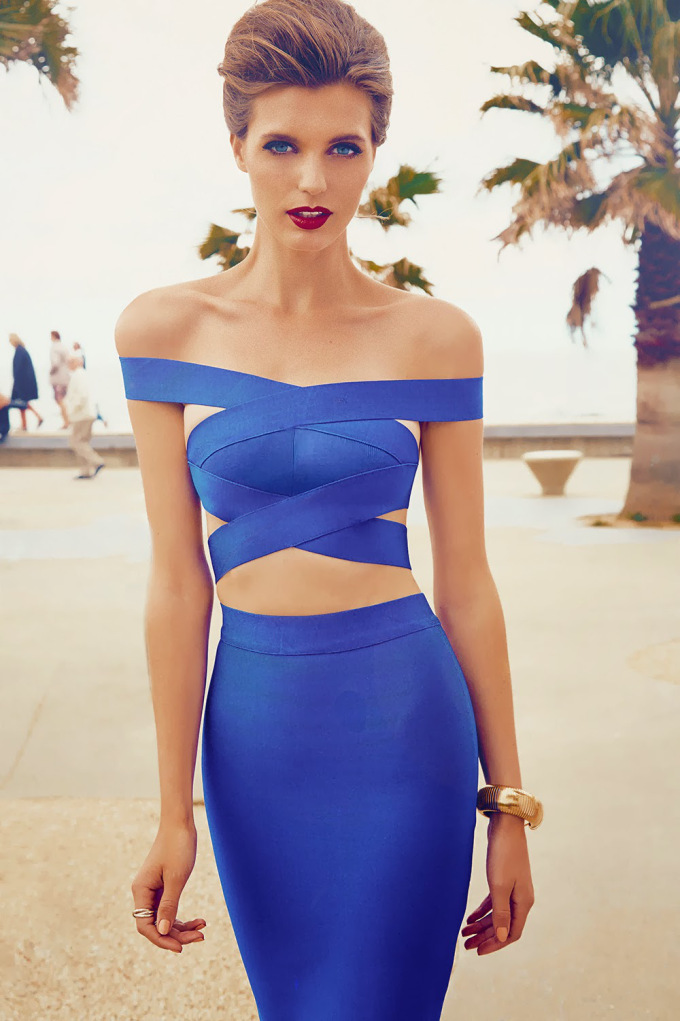 Cross off the shoulder cut out two pieces sets bandage dress h1100$109