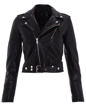 jacket leather jacket cropped leather black