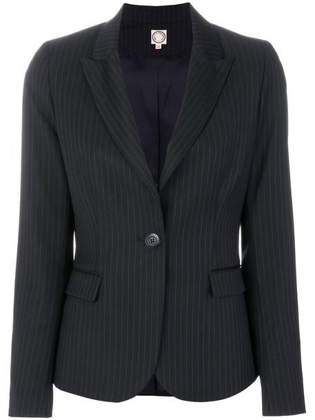 Ines de la Fressange blazer women classic blue silk wool jacket