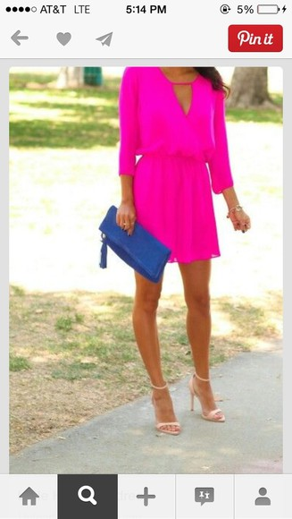 dress cute dress hot pink dress pink