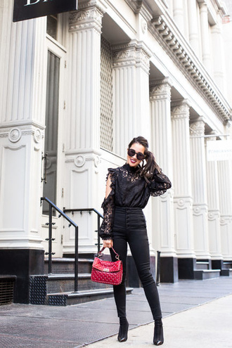 wendy's lookbook blogger top shoes bag sunglasses fall outfits black blouse boots black pants red bag