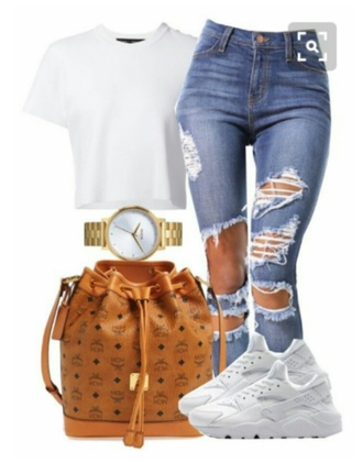 bag mcm bag bucket bag gold watch ripped jeans white t-shirt jewels