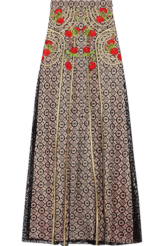skirt maxi skirt maxi embroidered lace cotton black