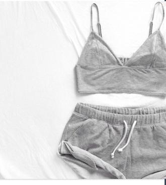 top grey top grey tank top grey shorts sweatpants