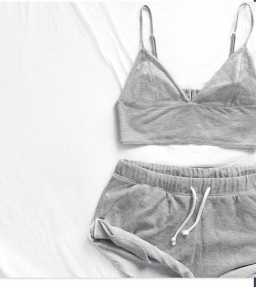 grey top grey tank top top grey shorts sweatpants