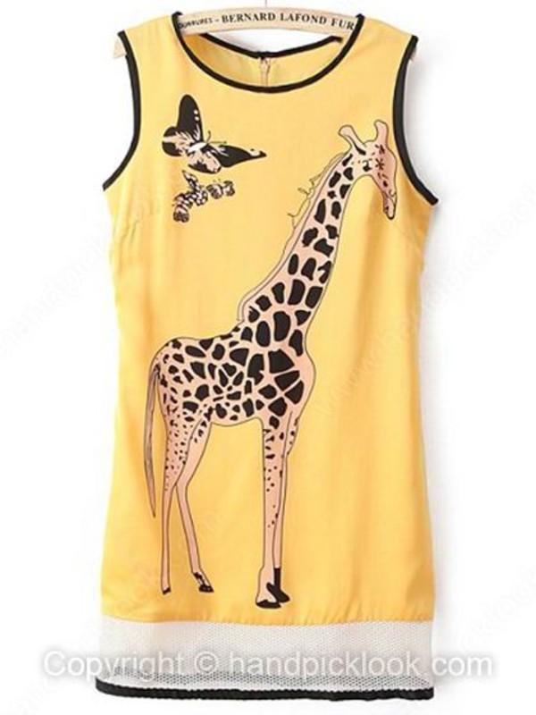 yellow dress yellow top giraffe print summer top summer dress giraffe shirt