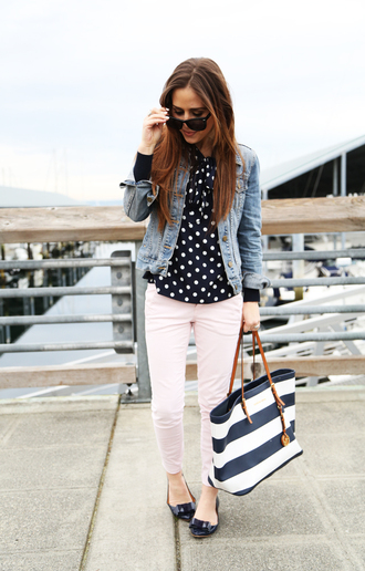 dress corilynn blogger denim jacket polka dots ballet flats maxi bag