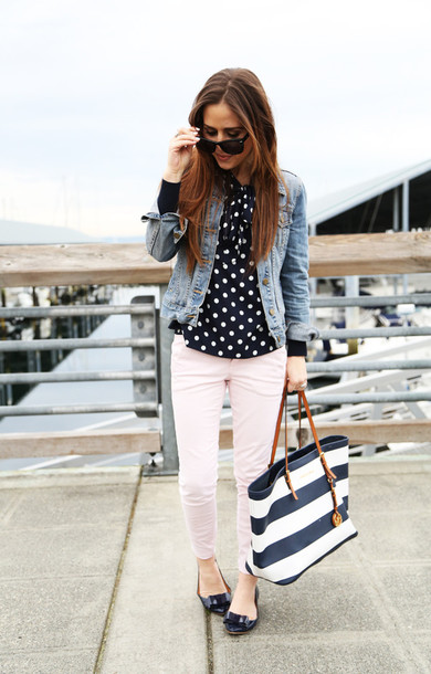 dress corilynn blogger denim jacket polka dots ballet flats maxi bag