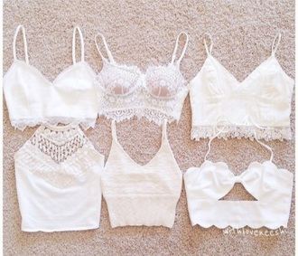 shirt crop tops white lace crop top tight crochet halter triangle top