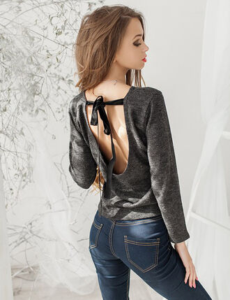 low back backless sweater grey sweater ribbon bow fall sweater sexy sweater open back fall outfits urban open back dresses blouse