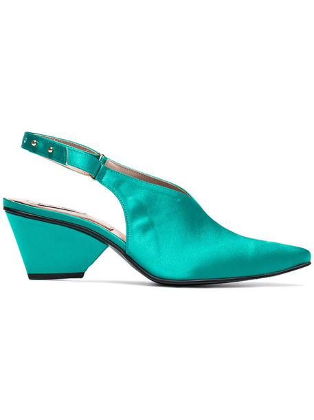 Reike Nen women pumps leather green satin shoes