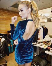 dress,velvet,velvet dress,josephine skriver,model off-duty,mini dress,instagram,backless dress,backless