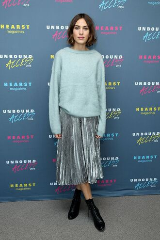skirt alexa chung blue blue sweater iridescent holographic