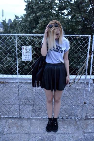 skirt black skater skirt skater skirt arctic monkeys t-shirt blouse