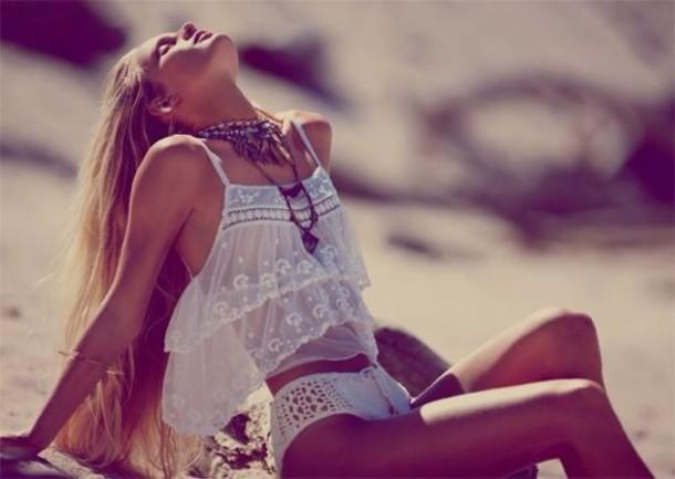 shirt mesh top see through white top statement necklace crochet underwear top