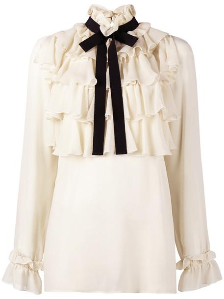 shirt bow ruffle women nude cotton silk top