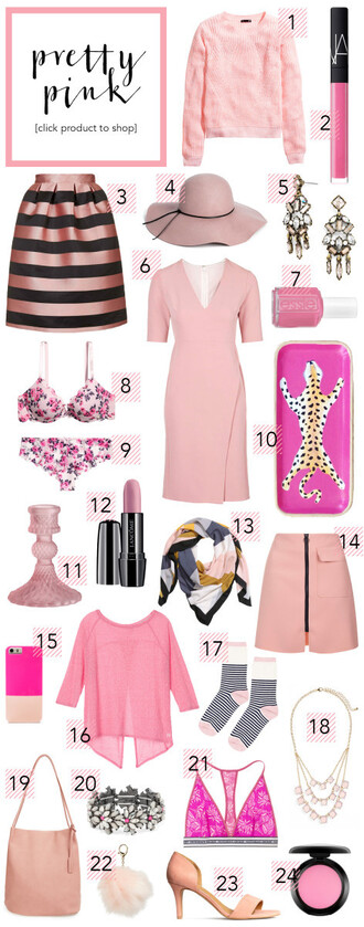 striped skirt galentines day all pink everything all pink wishlist pink dress pink hat pink bra pink sweater cute outfits
