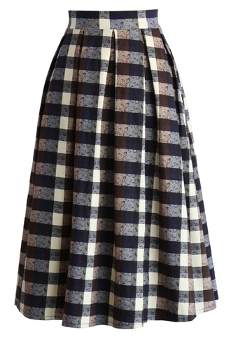 skirt grace in checks pleated midi skirt chicwish midi skirt pleated skirt