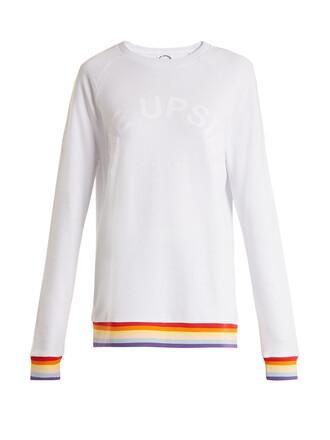 sweatshirt rainbow cotton white sweater