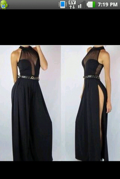 dress black ball gown long prom dresses slit skirt bodysuit