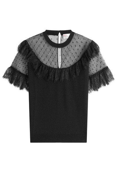 RED VALENTINO top knit lace black