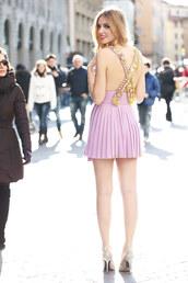chiara ferragni,purple dress,glitter,high heels,dress,shoes