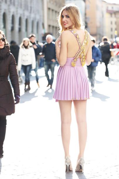 Chiara purple dress glitter high heels