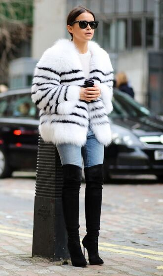 coat white fur coat fur coat white coat denim jeans blue jeans over the knee boots over the knee black boots high heels boots sunglasses black sunglasses miroslava duma streetstyle jacket tumblr fur jacket faux fur jacket stripes striped jacket light blue jeans boots thigh high boots thigh highs thigh-high boots