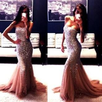 dress prom dress sparkly dress pink decoration 2014 full length forever hill model heart ball sparkle sequins