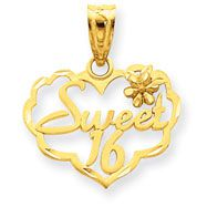 14K Gold Sweet 16 Charm at Jewelry Adviser.com