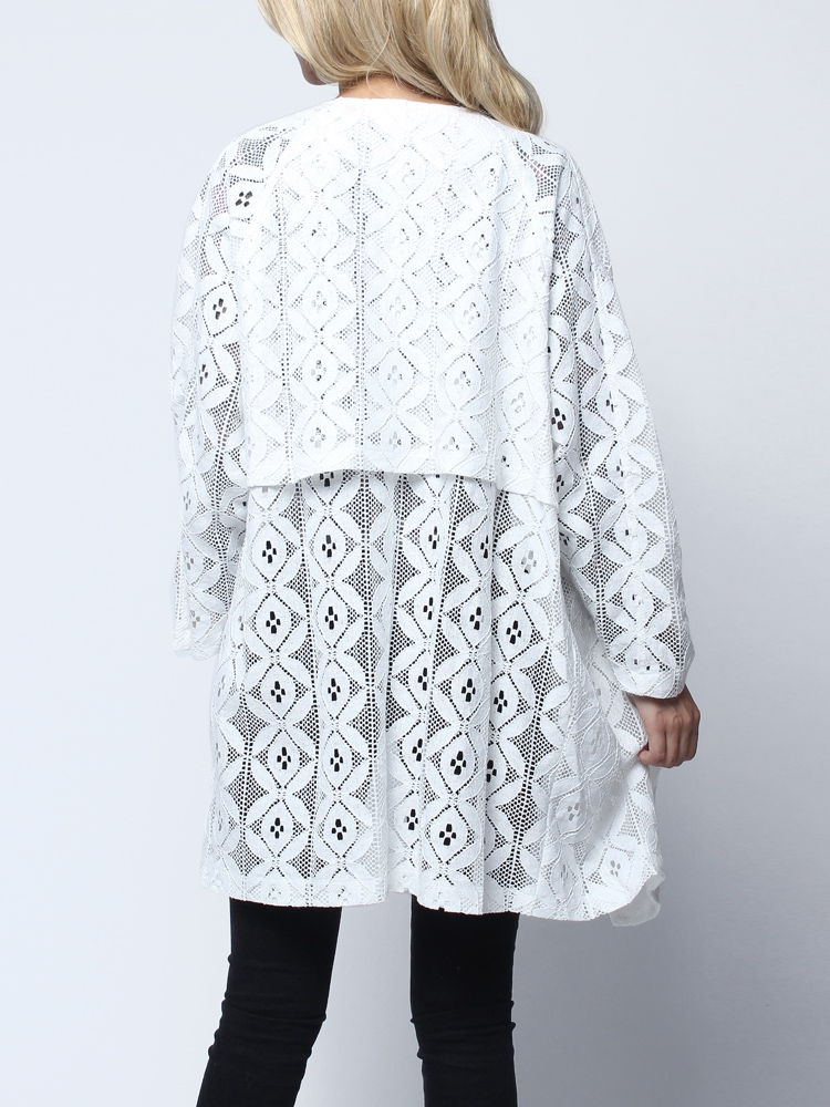 Long Big Lapel Collar Hollow Out Batwing Sleeve Printed Coat - US$23.59