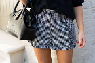 shorts tumblr gingham ruffle