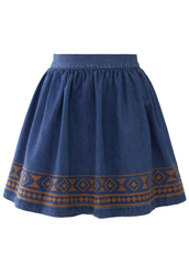 skirt,aztec,stitch,denim,skater skirt,navy