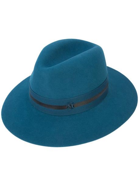 Maison Michel women fedora blue wool hat