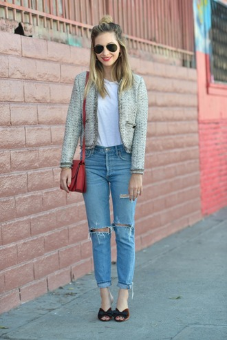 cupcakes and cashmere blogger sunglasses jacket tank top jeans bag make-up shoulder bag red bag