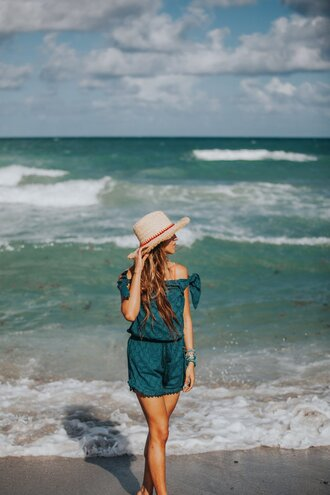 cuppajyo blogger romper hat bag jewels emerald green romper sun hat straw hat summer outfits off the shoulder beach