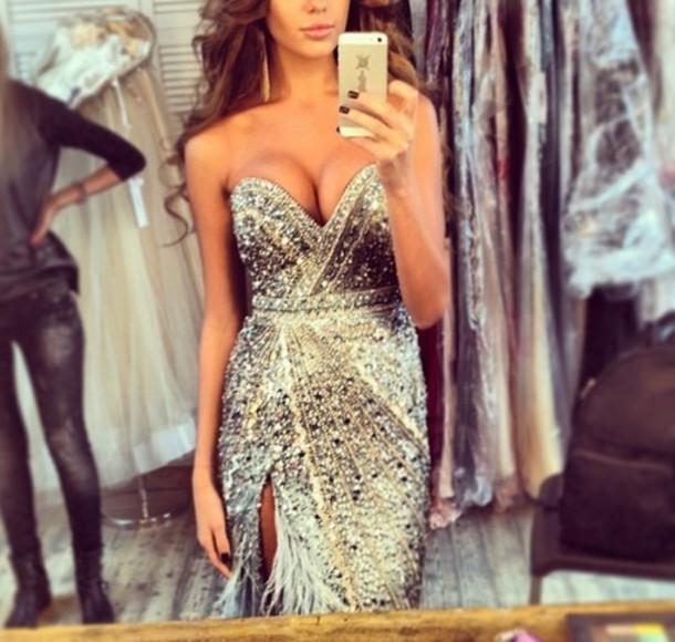 dress blue diamonds sequin slit sweetheart silver