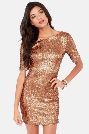 Bronze Dress - Party Dress - Holiday Dress - Sequin Dress - $79.00