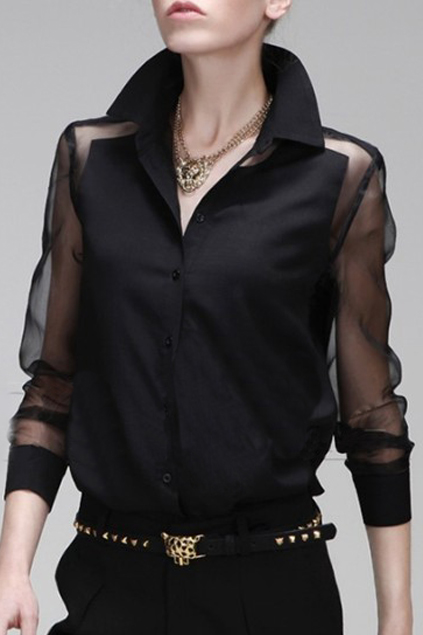 ROMWE | Panel Asymmetric Transparent Black Shirt, The Latest Street Fashion