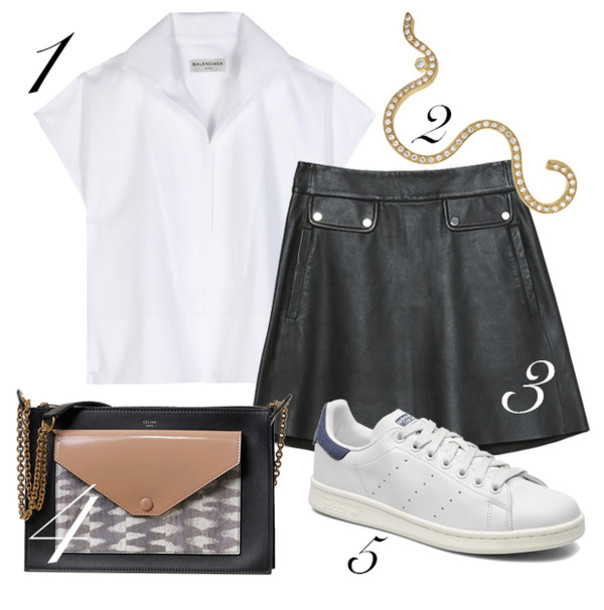 blame it on fashion blogger leather skirt white sneakers