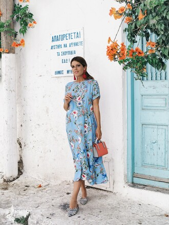 dress tumblr floral floral dress midi dress short sleeve dress shoes mules bag vacation outfits jewels