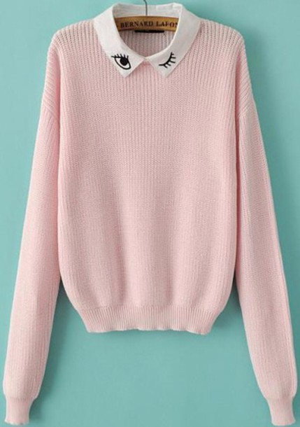 Sweater: collared, pink sweater, collared sweater, eyes ...
