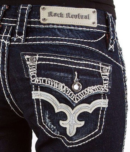jeans rock buckles style sparkle